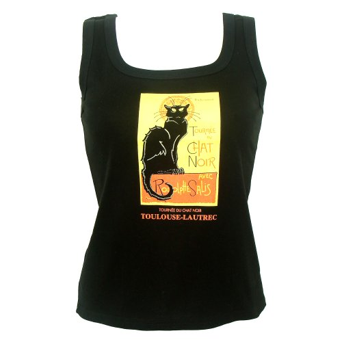 Souvenirs-of-France-Black-Cat-Womens-Sleeveless-T-Shirt-Size-XL-Color-Black-0